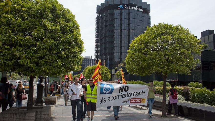 Manifestación de trabajadores de la empresa Hewlett-Packard en Barcelona. /ENRIC CATALÀ