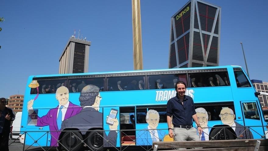 Pablo Iglesias cierra este domingo la ruta madrileña del 'Tramabús' con un mitin en la Puerta del Sol