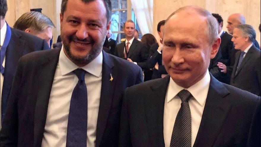 Matteo Salvini y Vladimir Putin el 4 de julio en Roma.