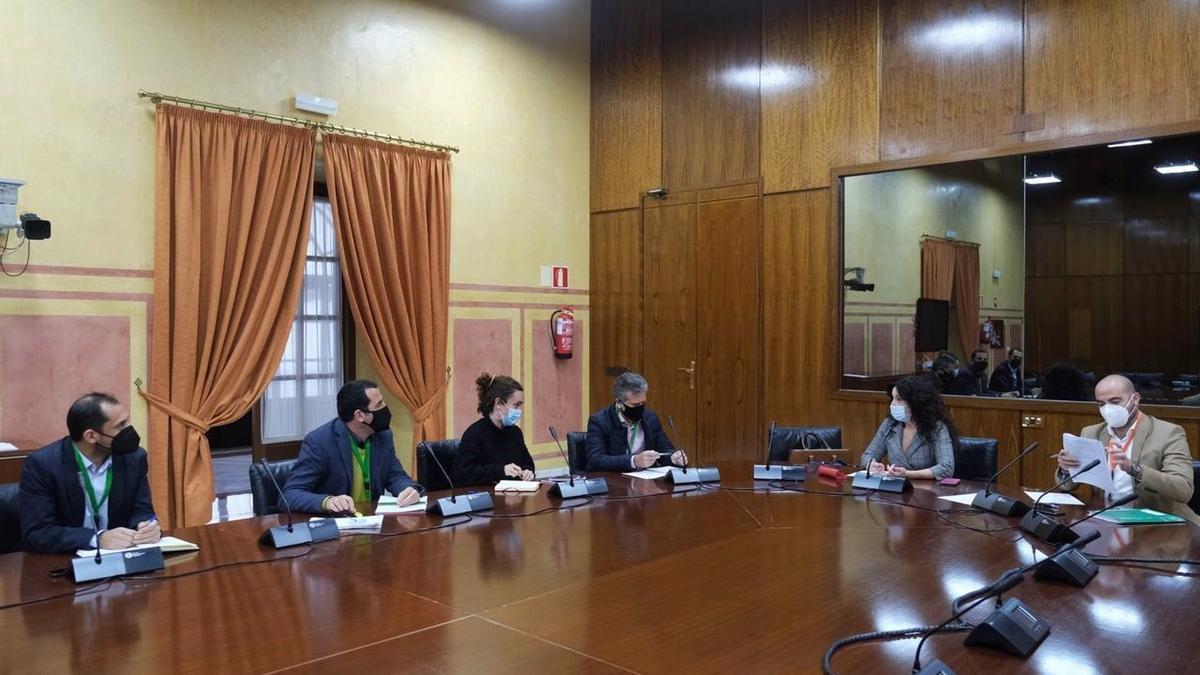 Rocío Ruiz (segunda por la dcha.), en el encuentro con representantes de la Diputación de Córdoba.