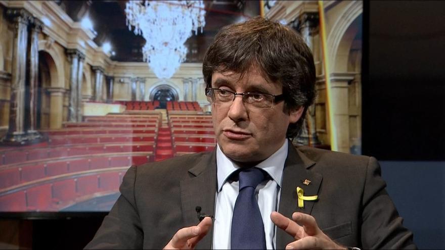 Carles Puigdemont, durante la entrevista en TV3