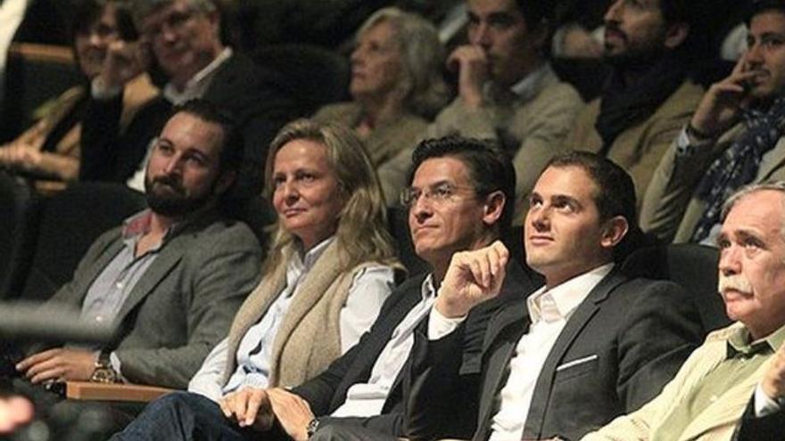 Santiago Abascal, Isabel San Sebastián, Luis Salvador y Albert Rivera durante la presentación de Movimiento Ciudadano, en 2013