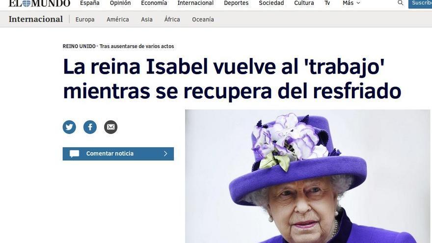 Titular en El Mundo sobre la enfermedad de la reina Isabel II.