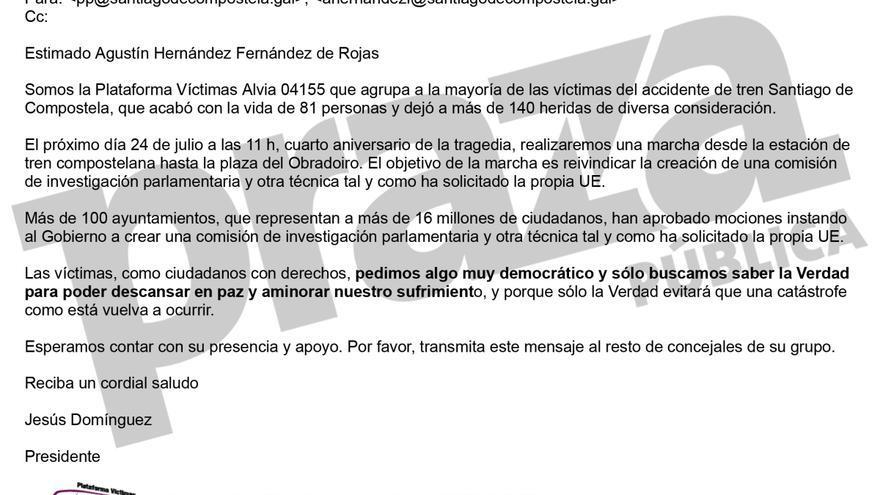Correo remitido por las víctimas al portavoz del PP en Santiago