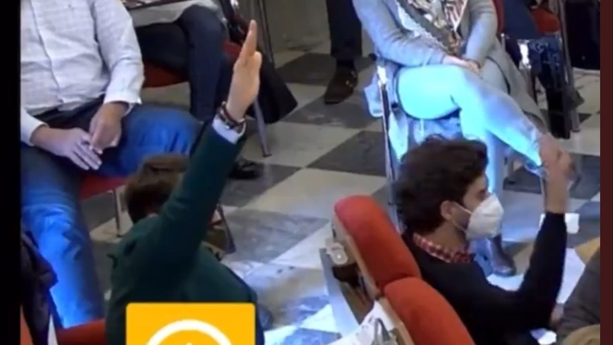 El concejal de extrema derecha realiza el saludo fascista durante la votación en el pleno de Badajoz