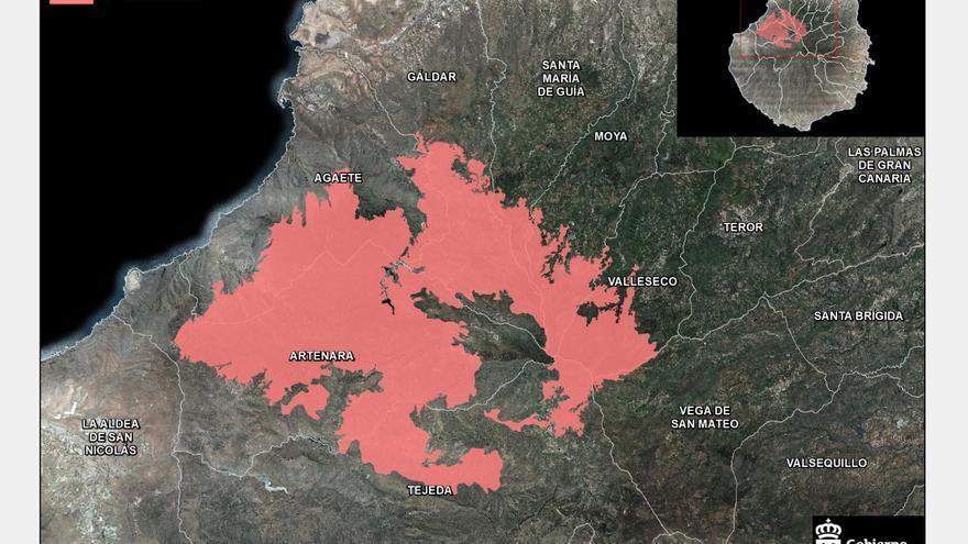 Estado del gran incendio de Gran Canaria,