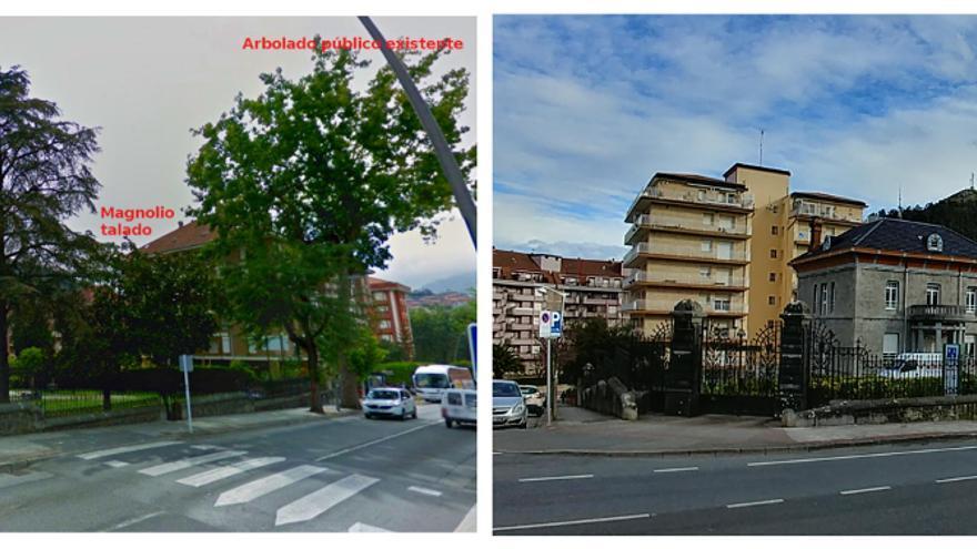 Vista general de la finca de la casa de Garma, antes y después de la tala de arbolado.