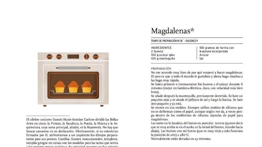 Captura de la página del libro con la receta de magdalenas de Manuela Carmena.