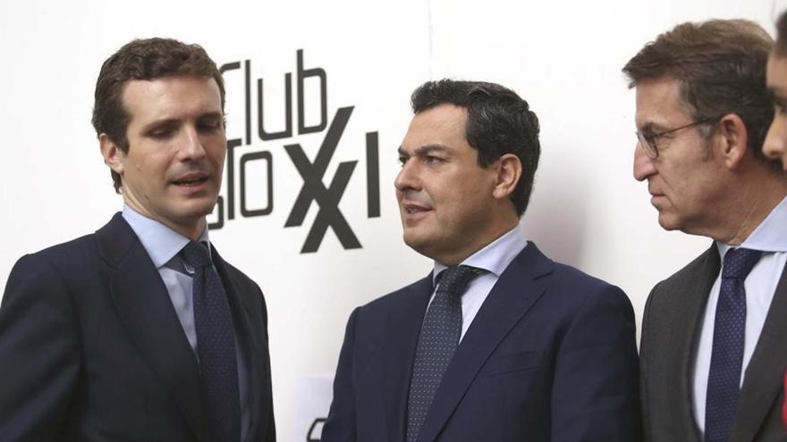 Pablo Casado, Juanma Moreno y Alberto Núñez Feijoo.