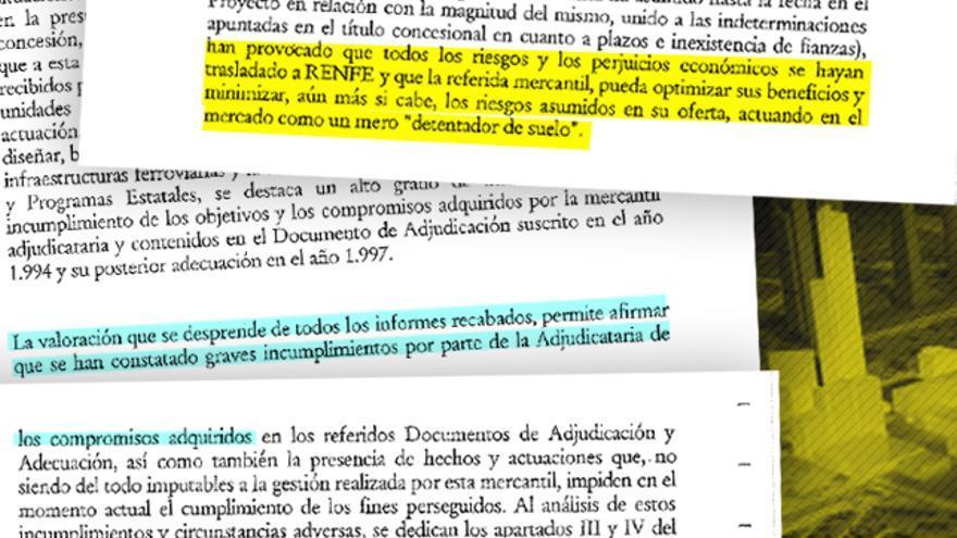 Fotomontaje de eldiario.es con frases del informe jurídico.