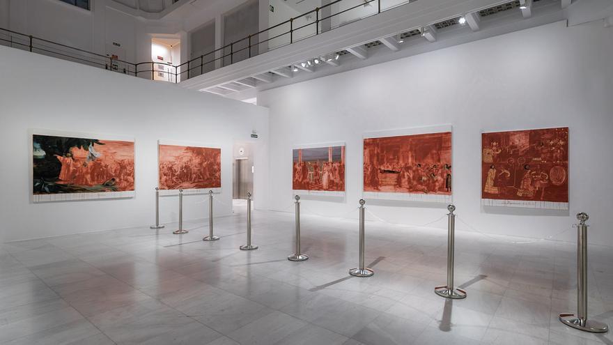 """Cuadros de la exposición de Sandra Gamarra, """"Buen gobierno"""""""