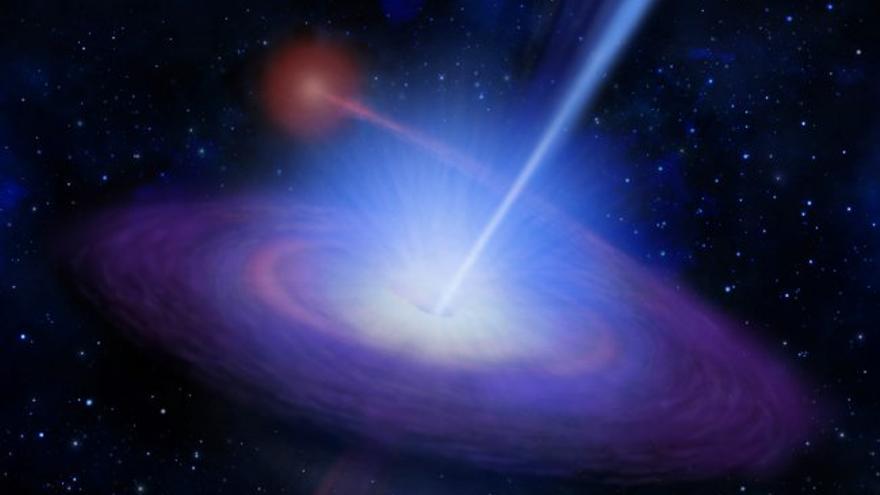 """En la imagen, recreación de """"misterioso microcuásar"""". Foto: Instituto de Astrofísica de Canarias (IAC)."""