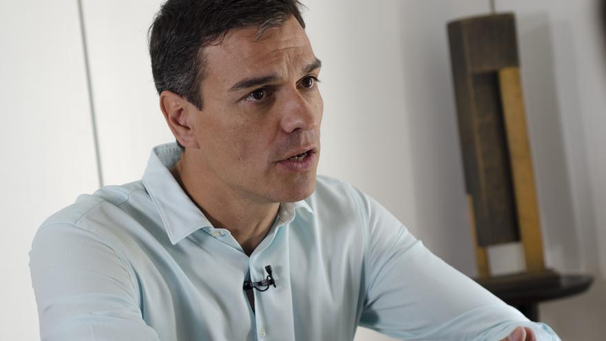 Pedro Sánchez, durante la entrevista con eldiario.es | Foto: David Conde