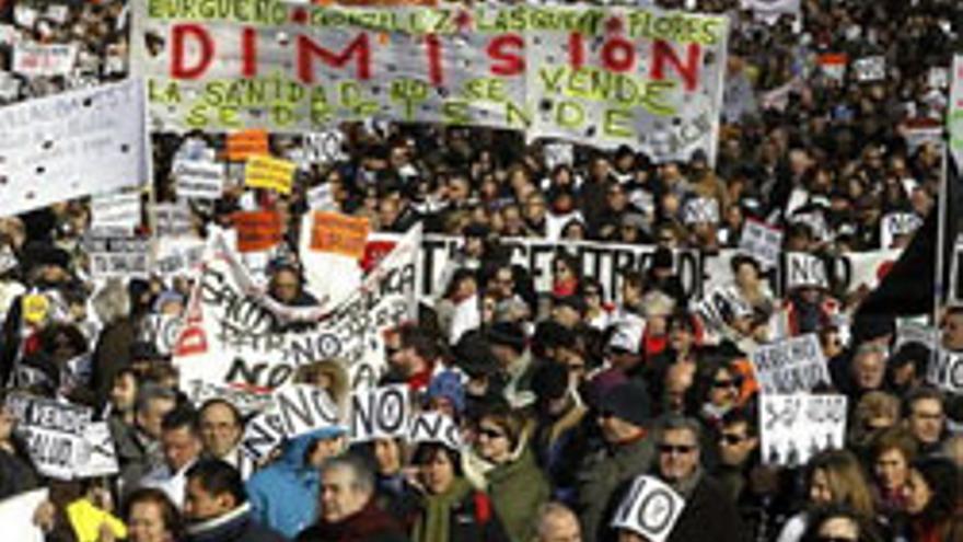 Imagen de las protestas contra la privatización de la Sanidad en Madrid. EFE