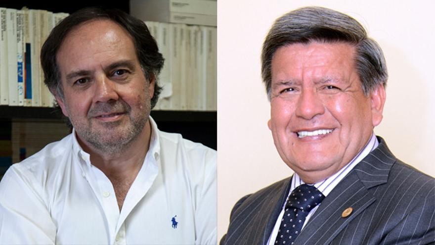 El politólogo Ismael Crespo y el político peruano César Acuña