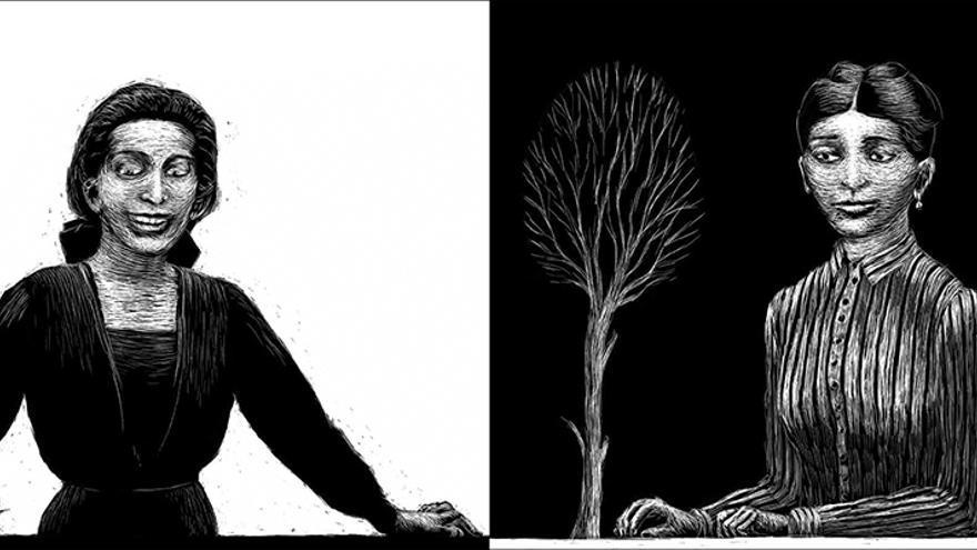 A la izquierda: dibujo de Felice Bauer. A la derecha: Julie Wohryzek
