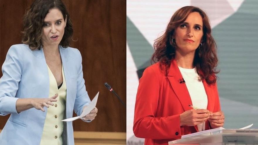 Isabel Díaz Ayuso, presidenta de la Comunidad de Madrid (PP) y la líder de la oposición, Mónica García (Más Madrid).