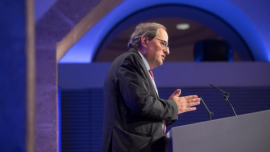 El president de la Generalitat, Quim Torra, durante una comparecencia en el Palau