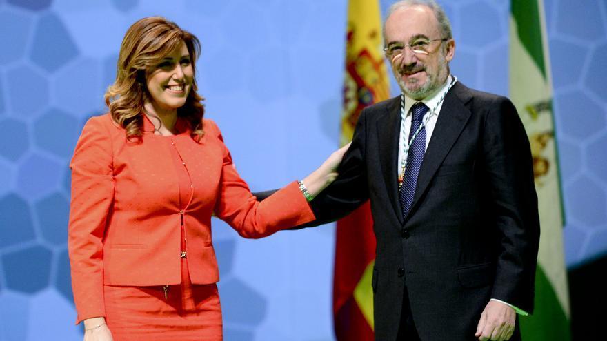 Santiago Muñoz Machado, junto a la presidenta de la Junta de Andalucía, Susana Díaz