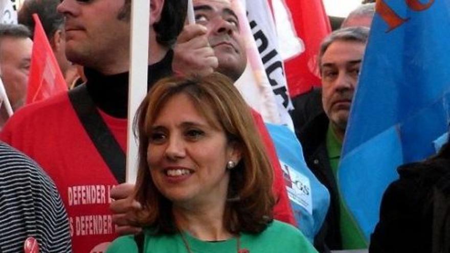 Magdalena Cantos, en una manifestación contra los recortes