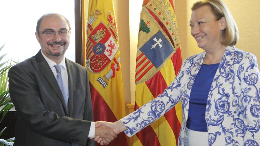 El presidente de Aragón, Javier Lambán, y la expresidenta, Luisa Fernanda Rudi. Foto: Aragón hoy