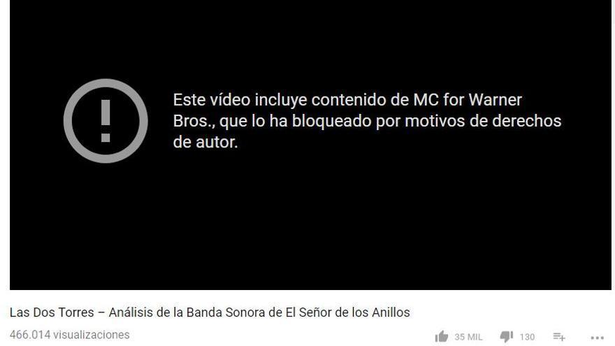 Captura del vídeo de Jaime Altozano bloqueado por Youtube