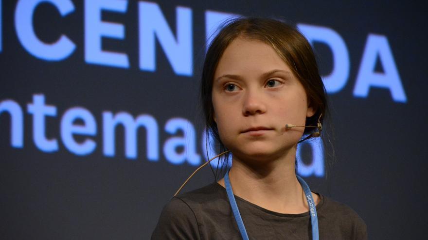 Greta Thunberg, durante la rueda de prensa el viernes en Madrid. Jose Verdugo