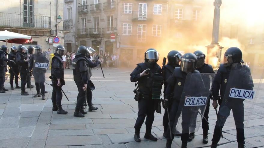 Actuación policial en los incidentes tras la primera manifestación de apoyo a los desalojados