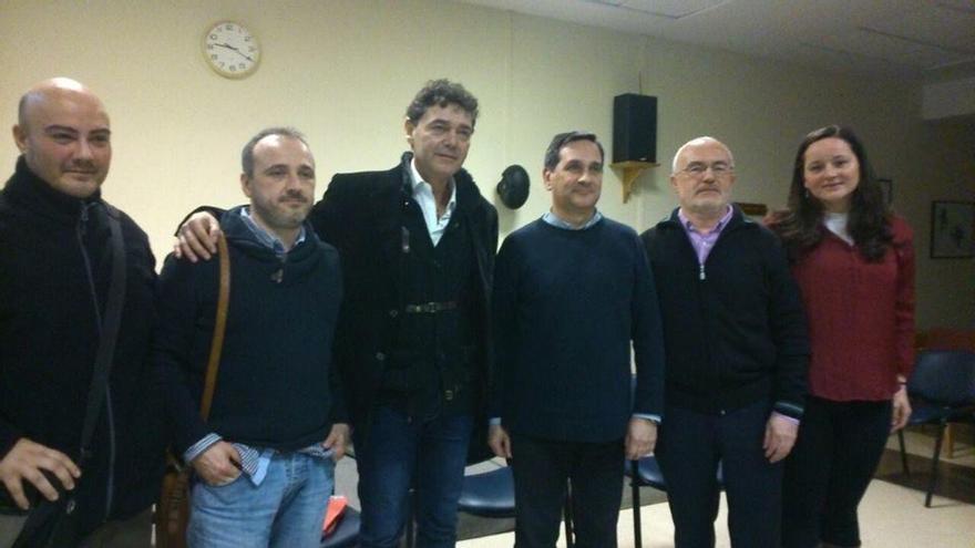 José María Copete, Mario Cánovas y Antonio Montiel, en un acto de Podemos.