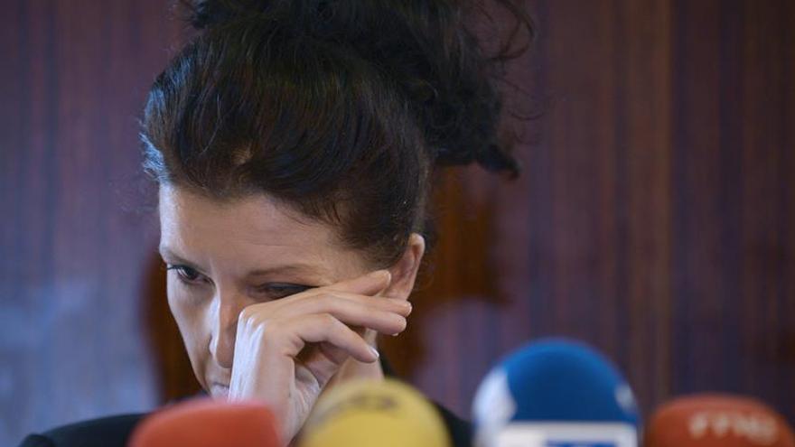 Rosana, tía de la niña muerta, en la rueda de prensa del sábado.