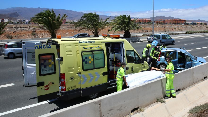 Ambulancia en un accidente en Gran Canaria