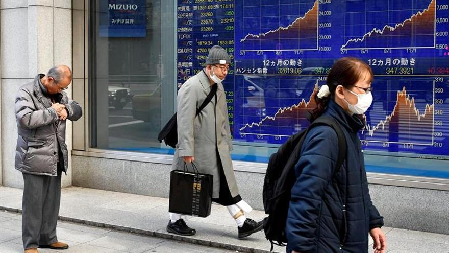La Bolsa de Tokio cae un 1,91 % a media sesión por el temor al coronavirus
