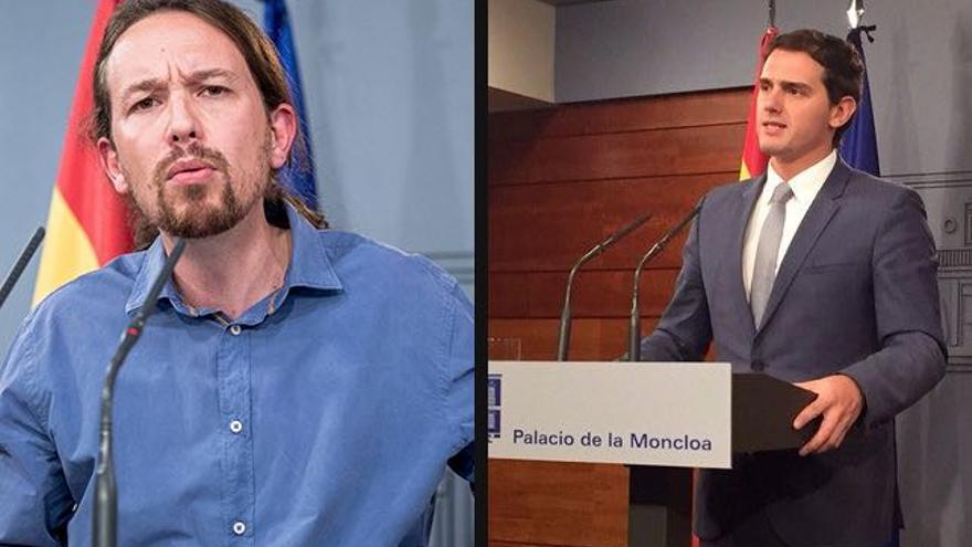 Montaje con imágenes de Pablo Iglesias y Albert Rivera en La Moncloa, el 30 de octubre.