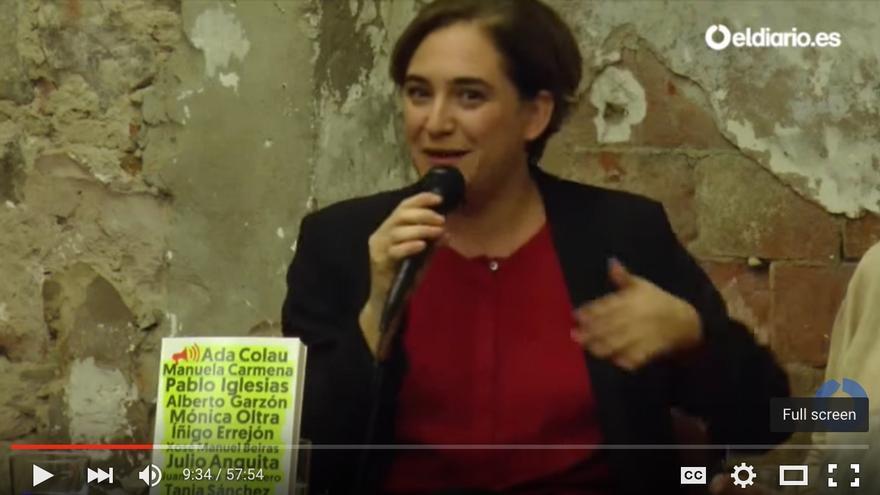 Ada Colau, en la presentación del libro 'Voces del cambio', en Barcelona.
