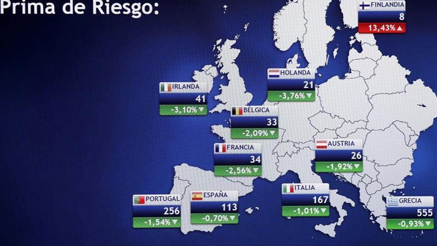 La prima de riesgo española baja a 116 puntos en la apertura
