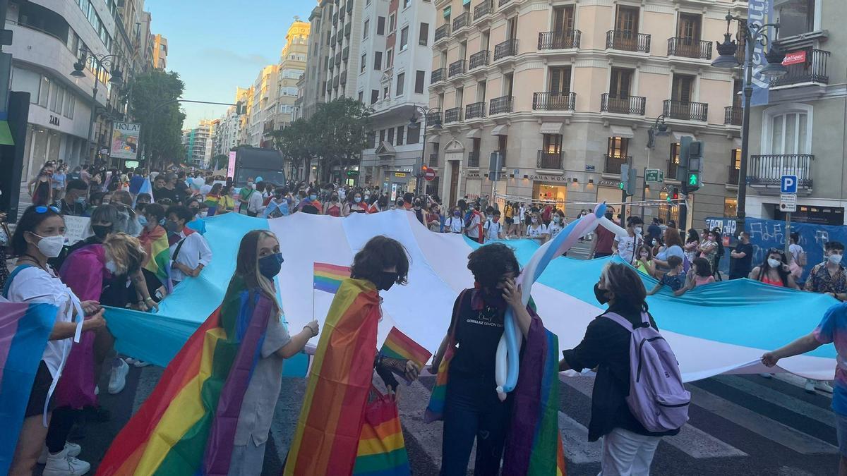 Un momento de la marcha del Orgullo 2021 en València.