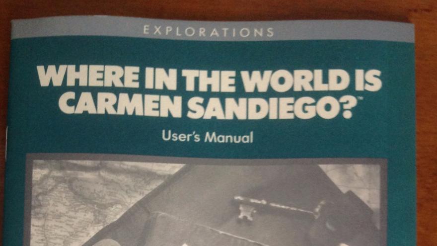 Manual del primer videojuego de Carmen Sandiego (Imagen: Cedida por David Siefkin)