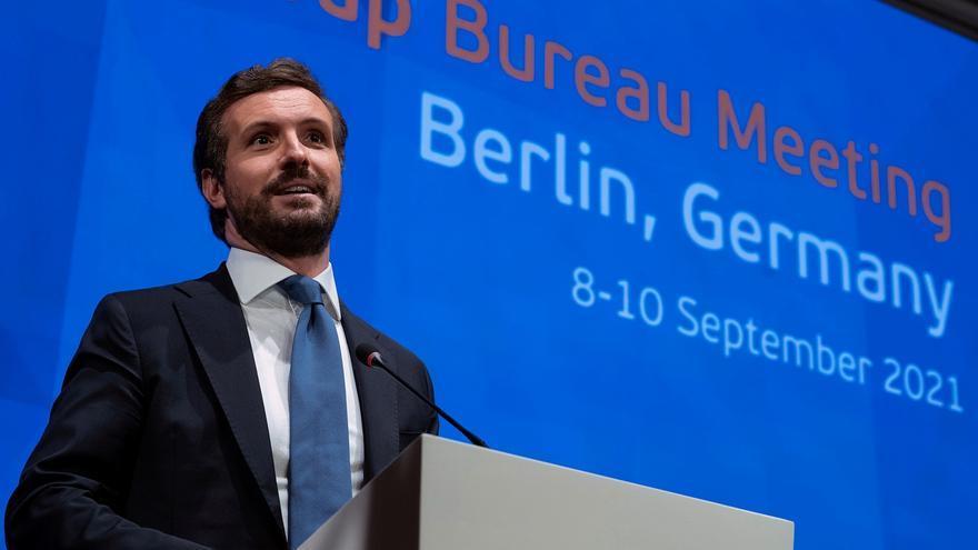El líder del Partido Popular, Pablo Casado durante su intervención en el encuentro del Partido Popular Europeo (PPE) en Berlín este jueves. EFE/Partido Popular / David Mudarra