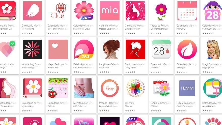 Aplicaciones para monitorizar el ciclo menstrual, en Google Play, la plataforma de descarga de apps para teléfonos Android