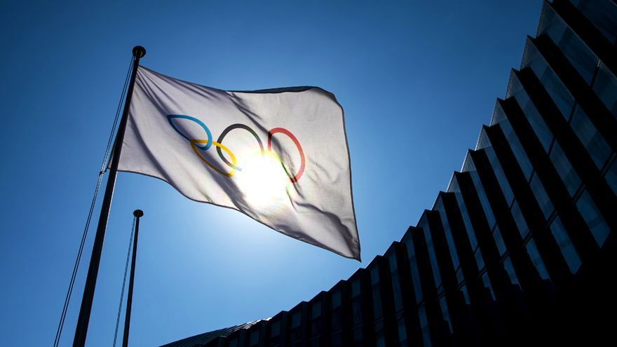 Bandera de los JJOO en la sede del Comité Olímpico Internacional