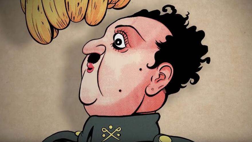 Una de las caricaturas del dictador Francisco Franco publicadas en el semanario 'La Traca'.