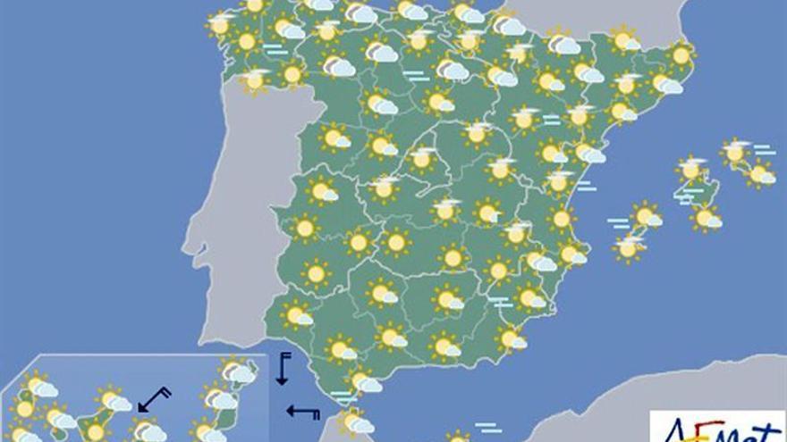 Temperaturas altas en la mitad interior sur peninsular