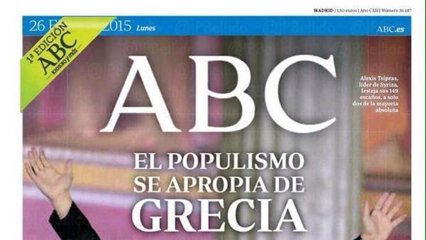 Portada de ABC tras la victoria de Syriza. \ Perlas