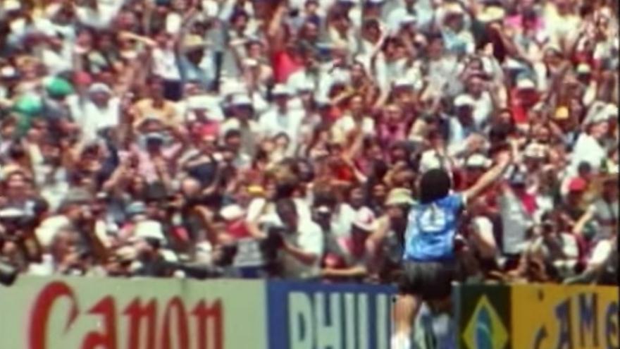 Celebración del gol del siglo de Maradona en 1986