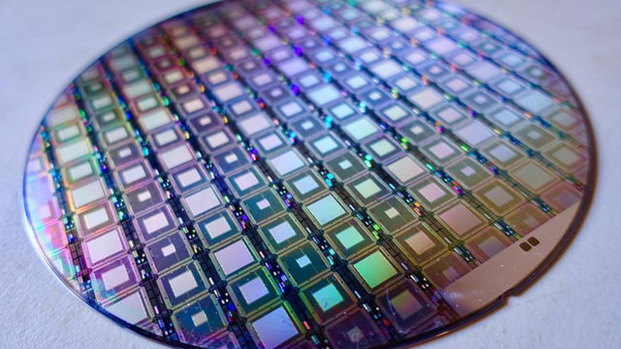 Una isla de chips del procesador D-Wave