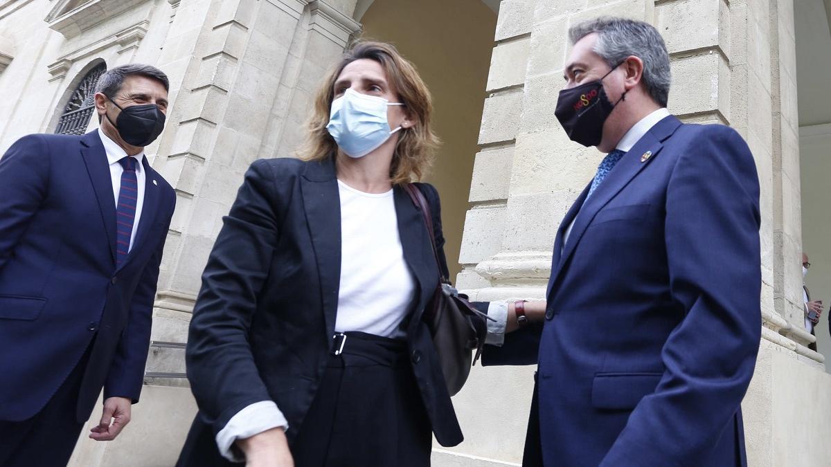 Teresa Ribera, escoltada por Juan Espadas (derecha) y el delegado del Gobierno en Andalucía, Pedro Fernández.