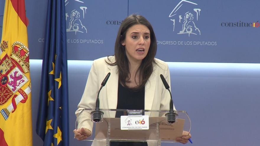 """Irene Montero eleva la presión sobre el Gobierno: """"Cualquier incumplimiento del acuerdo implica que los PGE no salen"""""""