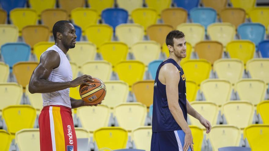 La selección española entrenándose en el Gran Canaria Arena. Alberto Nevado. FEB.