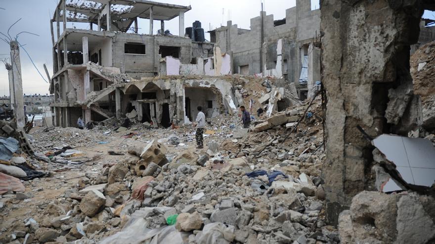 Casa destruida de Um Yahya en Beit Hanoun, en el norte de Gaza