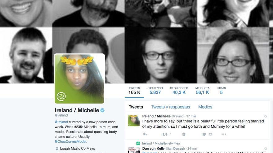 Perfil de @Ireland en Twitter, que esta semana del 22 de agosto ha utilizado Michelle Marie.